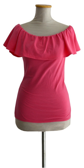 Remera Volado Estilo Pin Up Retro Manga Corta Rosa