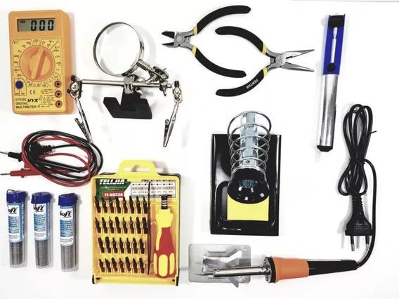 Kit Ferramentas Para Eletrônica Solda Lupa Multímetro 16 Pçs