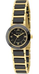 Relógio Technos Cerâmica Safira Preto E Dourado 2035lwf/4p