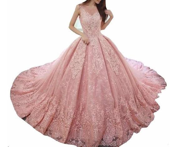 Vestidos Xv Años Quinceaños 15 Años Encaje Español Vestido Palo De Rosa, Blush, Rosa Bajito , Coral, Menta , Rosa Pastel