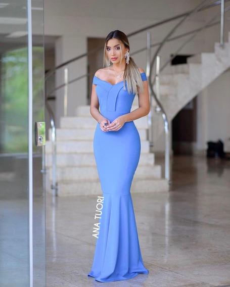 Vestido Madrinha Azul Festa Longo Sereia Ombro A Ombro #73