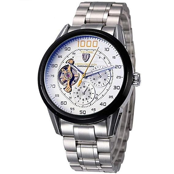 Reloj Analogo Tevise Casual Cronometro Fechador Metalico
