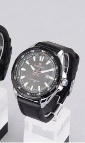 Relógio Masculino Naviforce Preto Prata Couro 9056 Original
