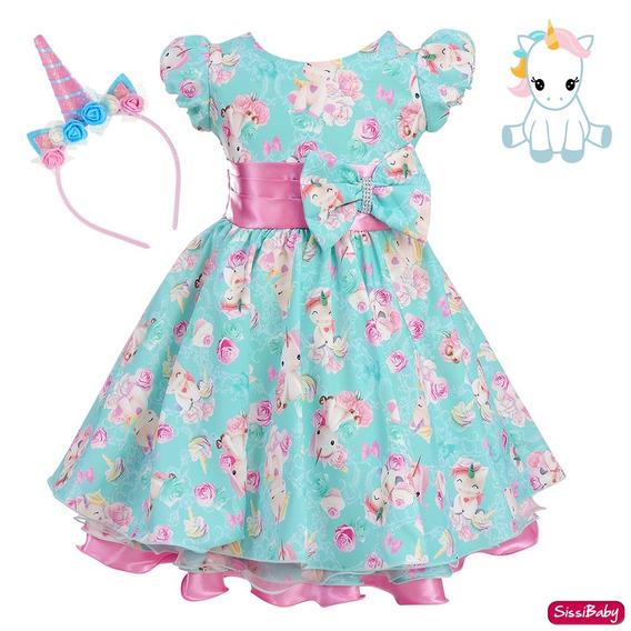 Vestido Unicórnio Flores Baby Infantil Super Luxo Com Tiara