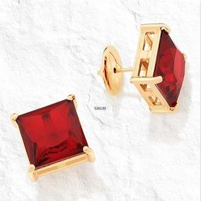 Brinco Rommanel 526130 Folheado Ouro 18k Cristal Vermelho