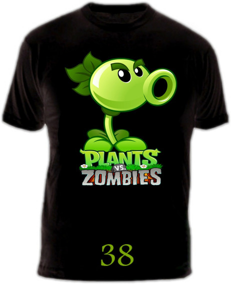 Remeras Plantas Vs Zombies 100% Algodón Negras Y Blancas