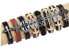 Kit 8 Pulseiras Bracelete Cruz Em Couro Para Revenda Moda