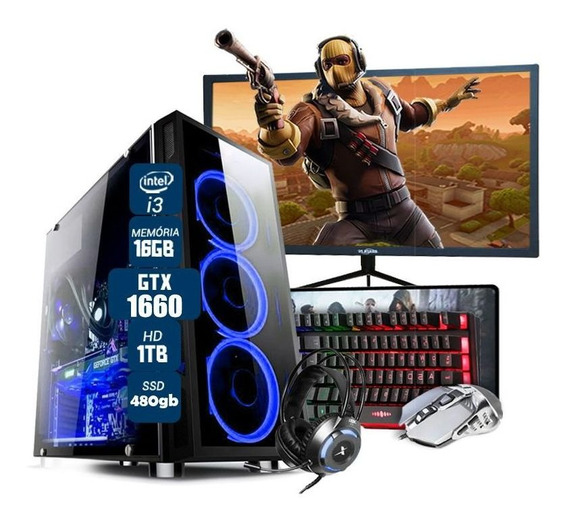 Pc Gamer Completo I3 7º Ger. Gtx 1660 16gb Ssd480gb Mon.27