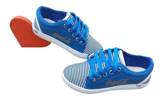 Tenis Feminino Casual Sapatenis Coca Cola Azul Listrado