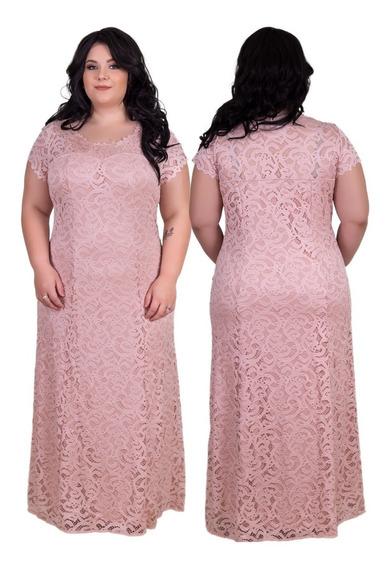 Vestido Plus Size Festa Longo Renda Até 58, Foto Original