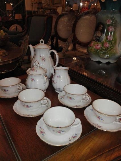 Antiguo Juego De Café Porcelana 13 Piezas Verbano Impecable