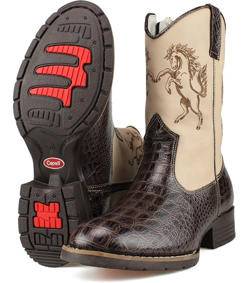 Bota Country Infantil Kids Rodeio Peao Texana Couro Capelli