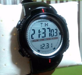 Relógio Digital Redondo Pulso Masculino Feminino Led Azul