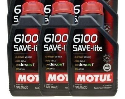 4 Litros Motul 6100 Save-lite 0w20 Api Sn ( Ford,gm,civic)