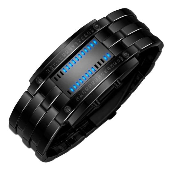 Relógio Masculino Futurista De Led Azul Com Calendário