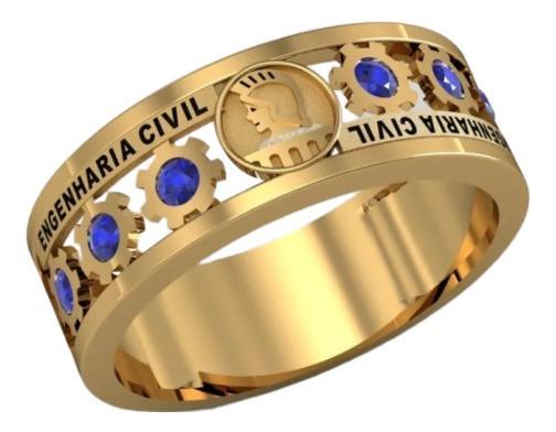 Anel De Formatura Engenharia Civil Ouro 18k