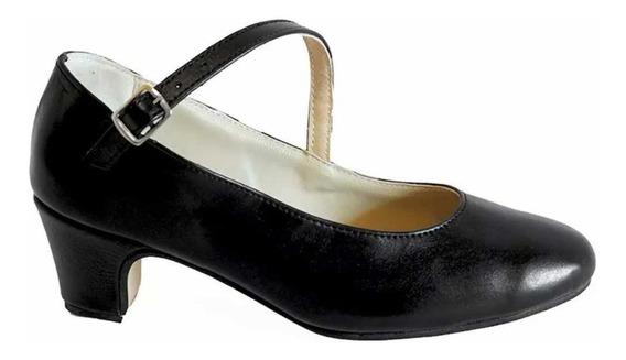 Zapatos Folklore, Español, Danza En Cuero Negro