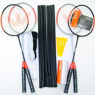 Kit Vollo Badminton - 4 Raquetes, 3 Petecas, Rede E Suportes