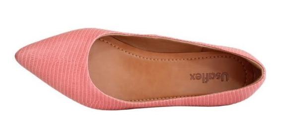 Sapato Usaflex Bico Fino Couro Rosa 6601
