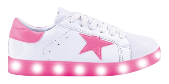 Zapatillas Footy Usb Led Estrella Rosa Fty Calzados