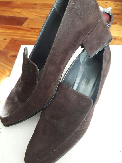 Zapatos De Vestir Mujer Gamuza Chocolate 35