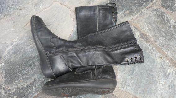 Botas De Cuero Negro Grimoldi Caña Alta Suela De Goma 39