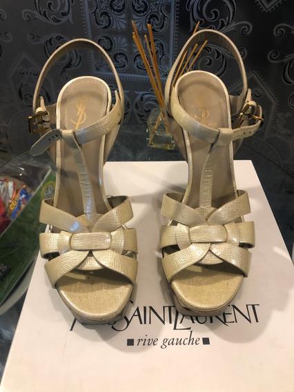 Tacones Zapatos Ysl Yves Saint Laurent Tribute Paille 100% Originales Garantizado!