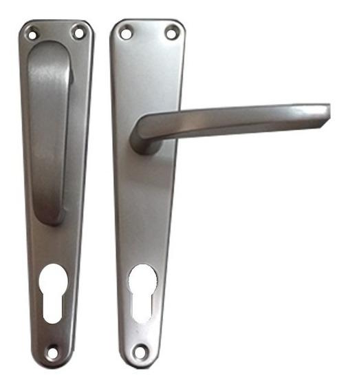 Manilla De Aluminio Plateada Para Puerta Fija Movil