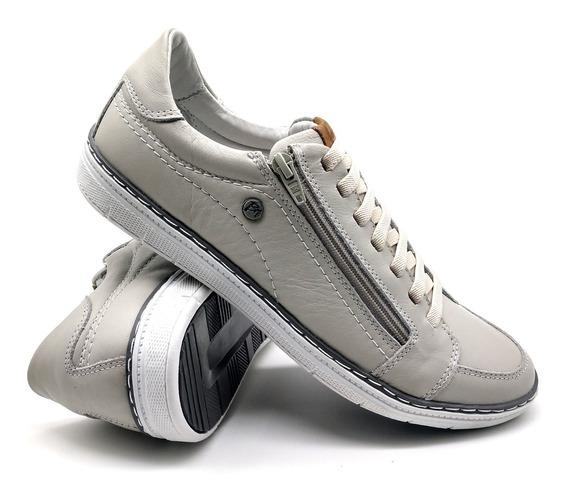 Tênis Elástico Masc Sapatos Couro Zíper Bmbrasil 608