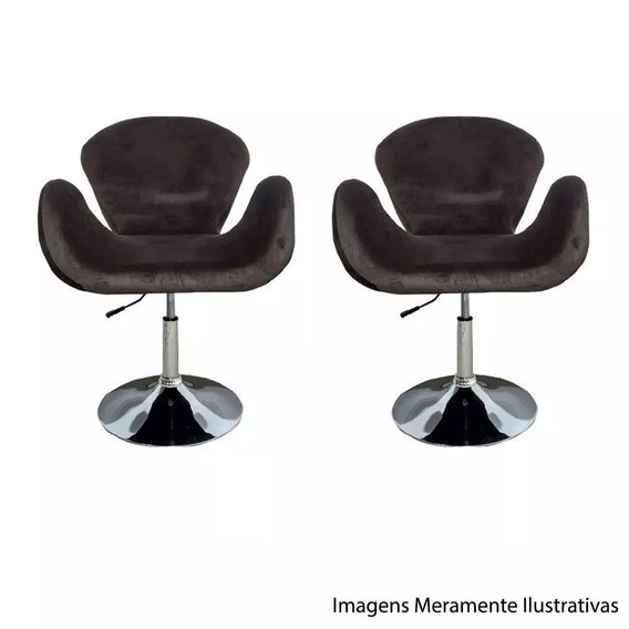 2 Poltronas Tulipa Marrom Suede Giratória Designer Decoração Escritório Consultorio Recepção Sala Lounge