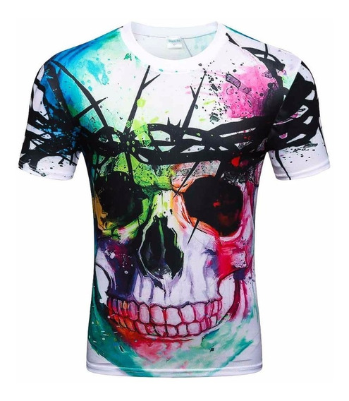 Playera 3d Slim Moda Juvenil Casual Original Color Skull