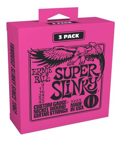 Imagem 1 de 2 de Kit 03 Encordoamento Guitarra 0.9 Ernie Ball Super Slinky