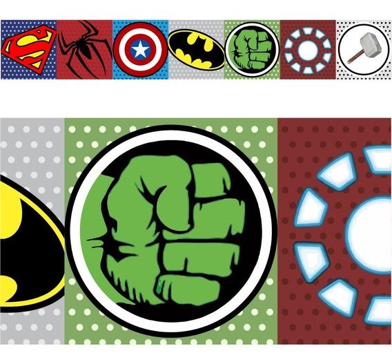 03 Adesivo Faixa Border Decorativa Cute Herois Super Menino