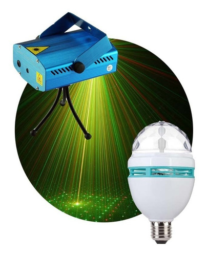 Imagen 1 de 10 de Combo Luces Dj Laser Lluvia + Bola De Rayos Led Giratoria