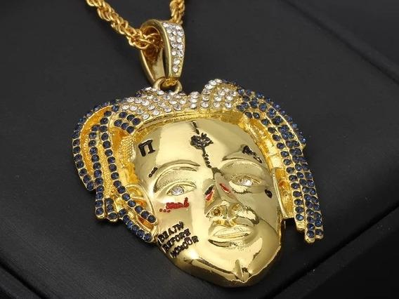 Colar Rosto Rap Xxxtentaction Cor Ouro Cravejado Zirconias