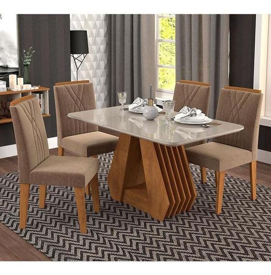 Conjunto 4 Cadeiras Para Sala De Jantar 130x80 Agata/nicole
