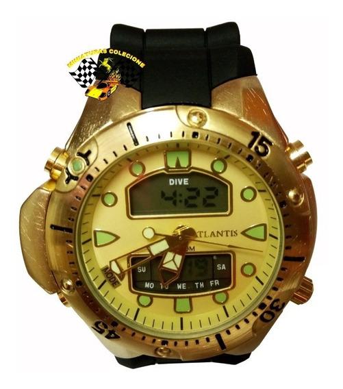 Relógio Masc Atlantis G3154 Aqualand 1060 Fundo Amarelo Peq.