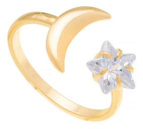 Anel Folheado Ouro Skinny Ring Aro Fino Aberto Lua E Estrela