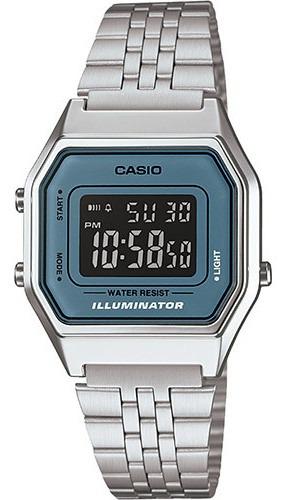 Relógio Casio Vintage Digital La680wa-2bdf Prata/verde Água