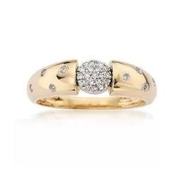 Anel De Ouro 18k Chuveiro De Diamantes An35vj
