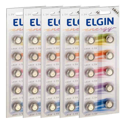 50 Pilhas Baterias Lr44 A76 Ag13 Alcalina Elgin- 05 Cartelas