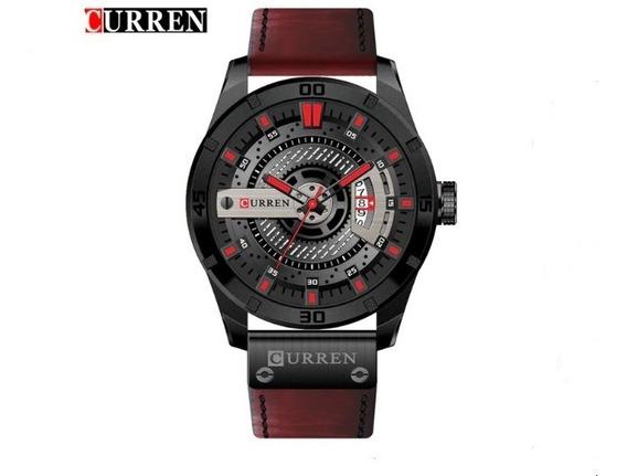 Relógio Curren Pulso Masculino Top Luxo Barato 8301 Couro