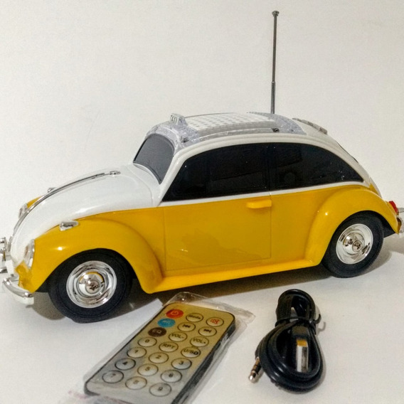 Caixa Som Portátil Fusca Taxi Mp3 Rádio Fm Usb
