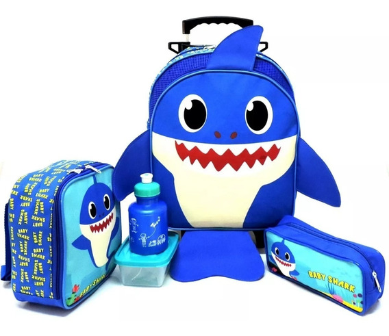 Kit Mochila Infantil Baby Shark Rodinha M Papai Tubarão Azul