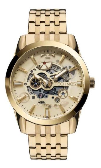Relógio Technos Automático Dourado Masculino 8205nq/4x