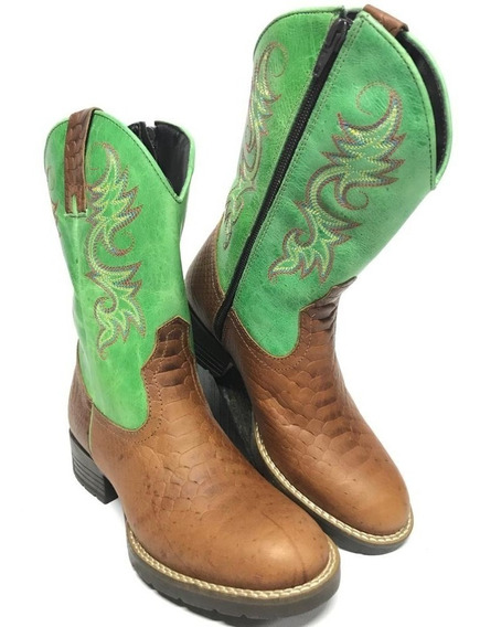 Bota Texana Country Feminina Modelagem Jácomo Cano Verde
