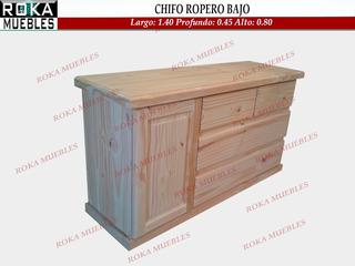 Chifonier Ropero Chato 1.40x0.45x0.74 Macizo Pino Roka