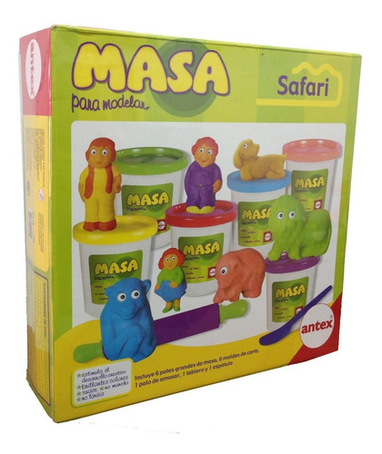 Imagen 1 de 4 de Masa Safari Animales Moldes Kit Antex Original