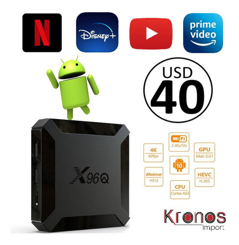 Tv Box Smart Tv 4k X96q Android Tv 10 2gb Ram + 16gb Rom