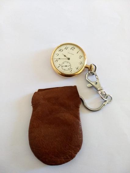 Reloj De Bolsillo Chapado En Oro Con Bolsa De Cuero Original